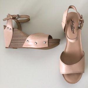 Lucky Brand LK-Marshha Sz 8 38 Nude Wedge Sandals